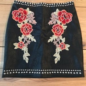 Romeo and Juliet couture leather skirt